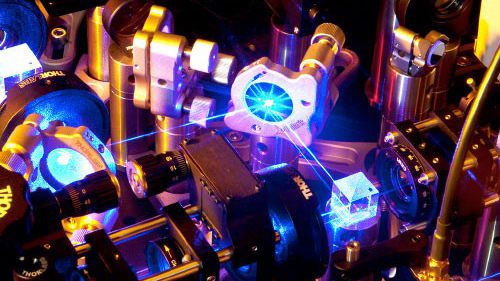 Quantum lasers conducting research experiment